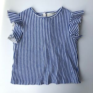 Zara | Girls Flutter Ruffle Sleeve Stripe Blouse